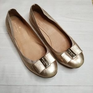 kate spade Shoes - Kate Spade Rose Gold Bow Flats size 8.5